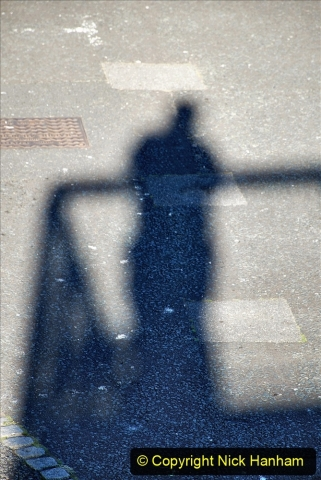 2021-06-01 First Bikers night on Poole Quay since lockdown. (43) 043 Your Host's shadow from vantage point.