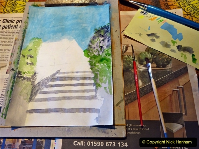 2021-01-15 to 24 Your Host doing lockdown water colour painting. (4) 040