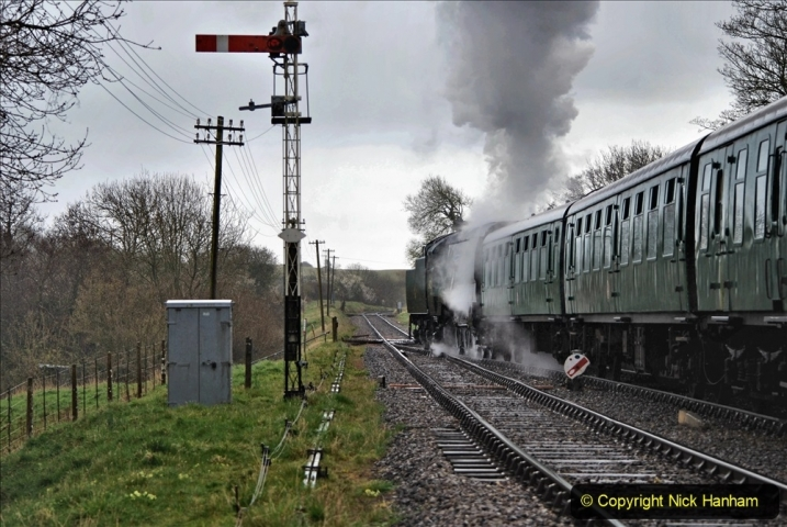 2021-04-12 SR First public train of 2021. (108) First down train return working at Corfe Castle. 108