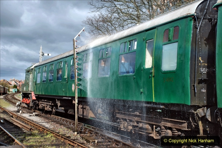 2021-04-12 SR First public train of 2021. (69) Setting up train carriage cleaning and wash. 069