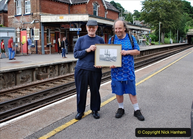 Pictures. (47) Malcolm and your Host at Parkstone Station with the picture on 09 July 2021. 047