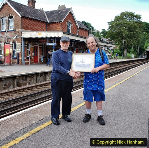 Pictures. (48) Malcolm and your Host at Parkstone Station with the picture on 09 July 2021. 048