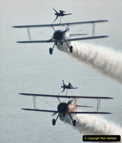 2021-09-03 Bournemouth Air Show Pictures AIR. (144) AeroSuperBatics Wing walkers - Boeing Steraman. 144