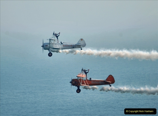 2021-09-03 Bournemouth Air Show Pictures AIR. (157) AeroSuperBatics Wing walkers - Boeing Steraman. 157