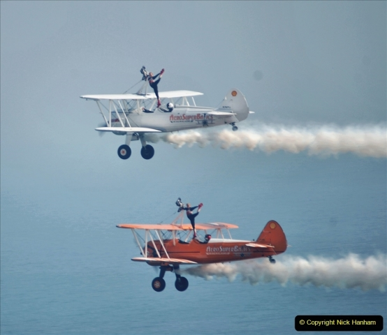 2021-09-03 Bournemouth Air Show Pictures AIR. (158) AeroSuperBatics Wing walkers - Boeing Steraman. 158