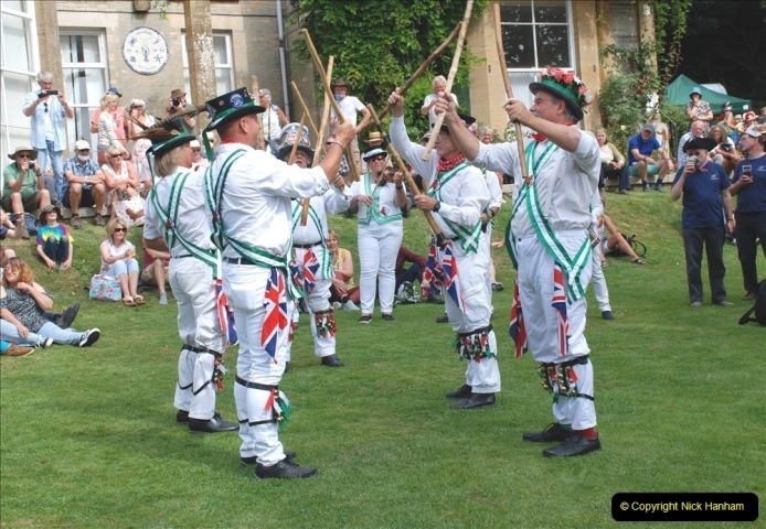 2021-09-04 Bridport Hat Festival. (345) On the Green. The Morris Men and Ladies. 345