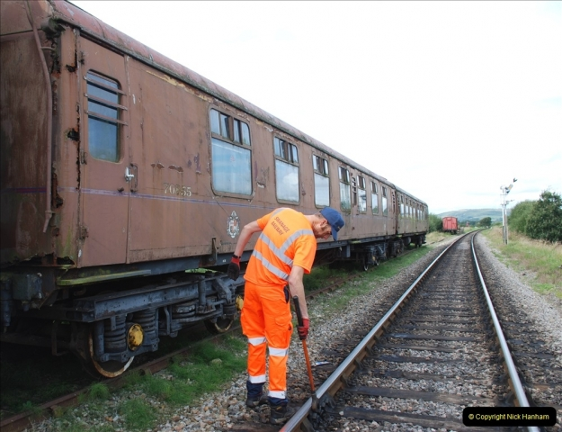 2021-09-17 SR Track Inspection Walk Norden to Swanage five & a half miles. (108) Stock at Harmans Cross. 108