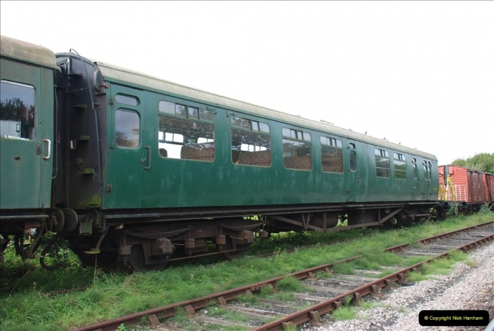 2021-09-17 SR Track Inspection Walk Norden to Swanage five & a half miles. (121) Stock at Harmans Cross. 121