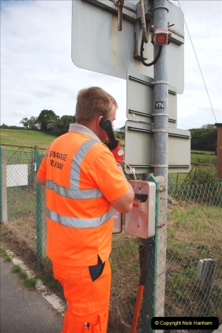 2021-09-17 SR Track Inspection Walk Norden to Swanage five & a half miles. (158) Crossing telephone test. 158