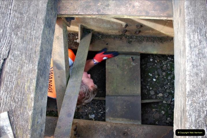 2021-09-17 SR Track Inspection Walk Norden to Swanage five & a half miles. (69) Bridge inspection. 069