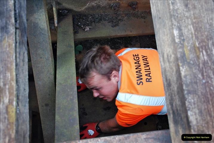 2021-09-17 SR Track Inspection Walk Norden to Swanage five & a half miles. (72) Bridge inspection. 072