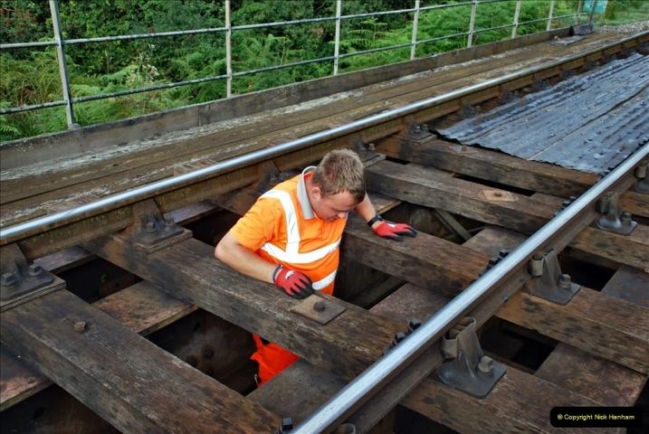 2021-09-17 SR Track Inspection Walk Norden to Swanage five & a half miles. (73) Bridge inspection. 073