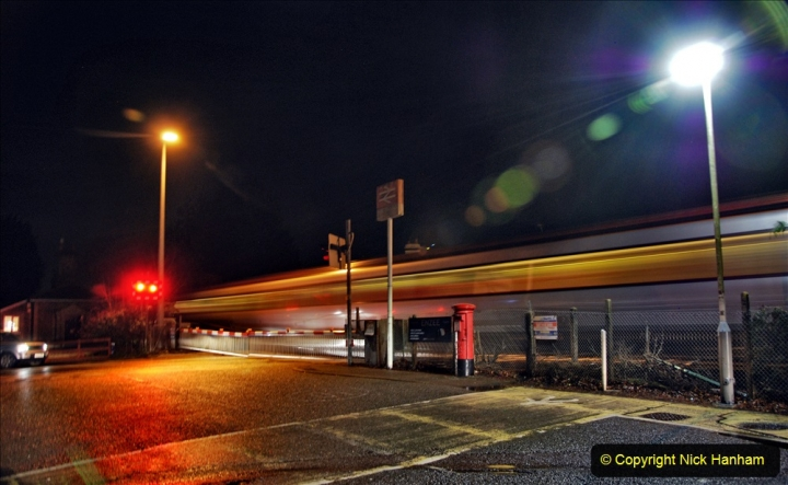 2020-12-14 Brockenhurst, Hampshire. (32) The town at night and fast trains.  084