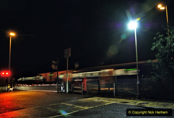 2020-12-14 Brockenhurst, Hampshire. (33) The town at night and fast trains.  085