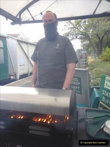 2021-09-23 SR Volunteers & Staff BBQ. (46) Through the BBQ smoke. 046