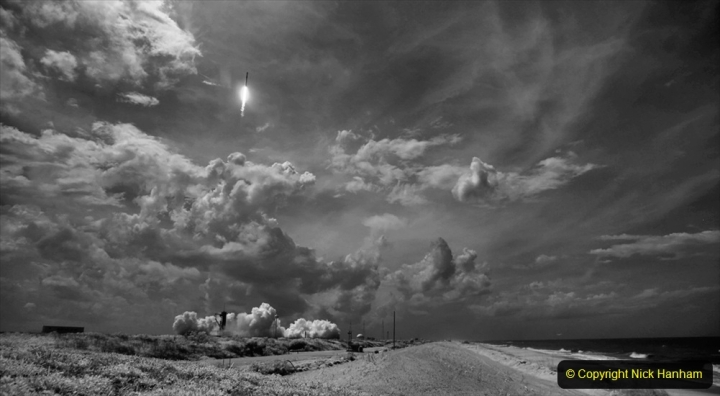 In this black and white infrared image, a SpaceX Falcon 9 rocket carrying the company's Crew Dragon spacecraft is launched on NASA's SpaceX Demo-2 mission to the International Space Station with NASA astronauts Robert Behnken and Douglas Hurley onboard, Saturday, May 30, 2020, at NASA's Kennedy Space Center in Florida. The Demo-2 mission is the first launch with astronauts of the SpaceX Crew Dragon spacecraft and Falcon 9 rocket to the International Space Station as part of the agency's Commercial Crew Program. The test flight serves as an end-to-end demonstration of SpaceX's crew transportation system. Behnken and Hurley launched at 3:22 p.m. EDT on Saturday, May 30, from Launch Complex 39A at the Kennedy Space Center. A new era of human spaceflight is set to begin as American astronauts once again launch on an American rocket from American soil to low-Earth orbit for the first time since the conclusion of the Space Shuttle Program in 2011. Photo Credit: (NASA/Joel Kowsky)
