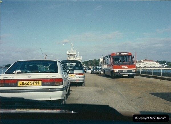 1994-01 27 Studland, Dorset. Skipper coming off the Sandbanks to Studland Chain Ferry 'Bramble Bush Bay'.186