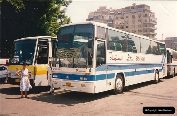 1994-08-08 Cairo, Egypt. Your Host's Wife ready to board out tour coach.214