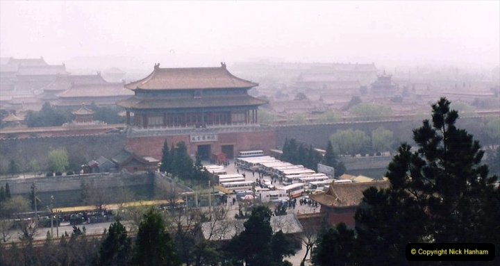 China 1993 April. (80) in Jingshan park. View of the Imperial Palace or the Forbidden City. 080