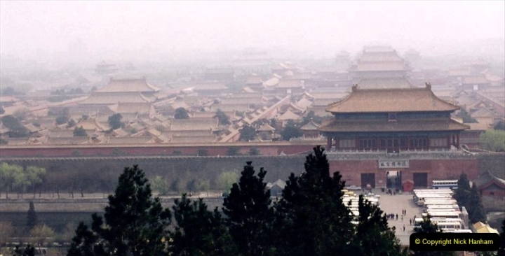 China 1993 April. (81) in Jingshan park. View of the Imperial Palace or the Forbidden City. 081