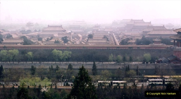 China 1993 April. (82) in Jingshan park. View of the Imperial Palace or the Forbidden City. 082