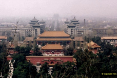 China 1993 April. (84) in Jingshan Park. Dim view towards The Drum Tower.084