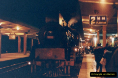 China 1993 April. (45) Nanjing to Wuxi. Steam in China approaching and in Nanjing. 0035 arrival time044