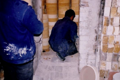 China 1993 April. (61) Number 1 Pottery Factory in Wuxi. Loading a kiln. 058
