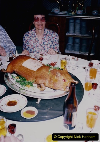 China 1993 April. (179) Farewell to China with a suckling pig dinner. 179