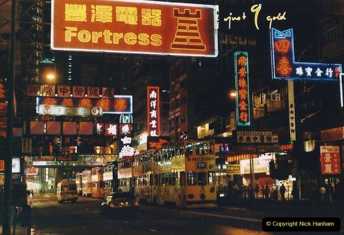 China 1993 April China into Hong Kong. (125) Hong Kong at night. 125
