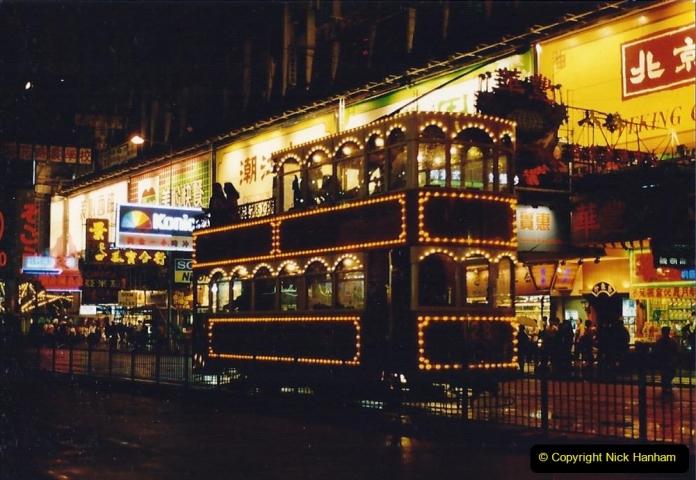 China 1993 April China into Hong Kong. (127) Hong Kong at night. 127