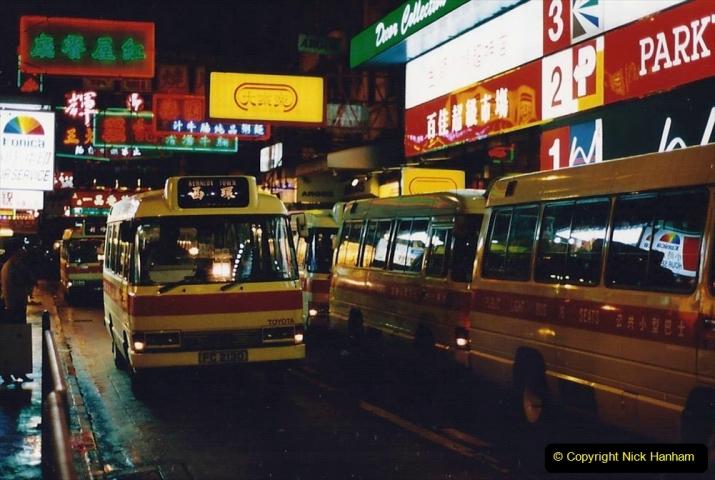 China 1993 April China into Hong Kong. (129) Hong Kong at night. 129