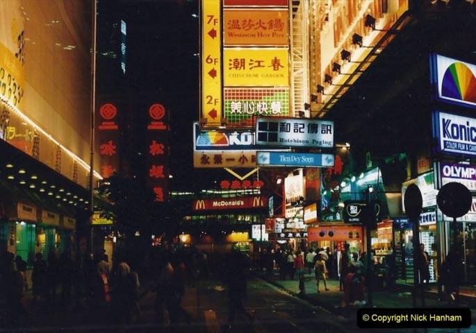 China 1993 April China into Hong Kong. (132) Hong Kong at night. 132
