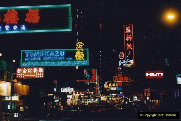 China 1993 April China into Hong Kong. (136) Hong Kong at night. 136