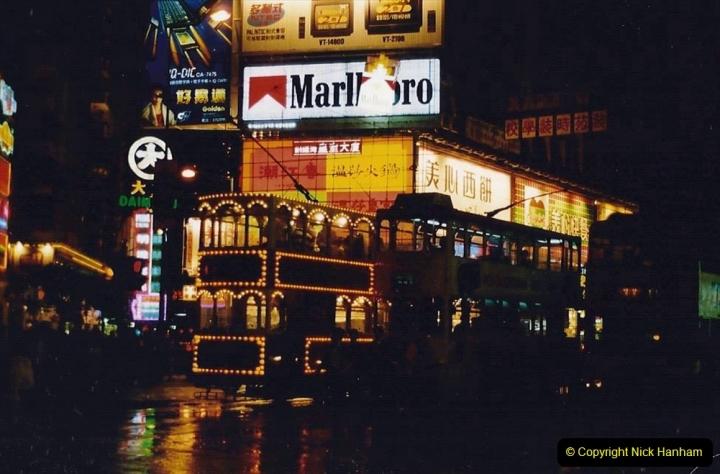 China 1993 April China into Hong Kong. (142) Hong Kong at night. 142