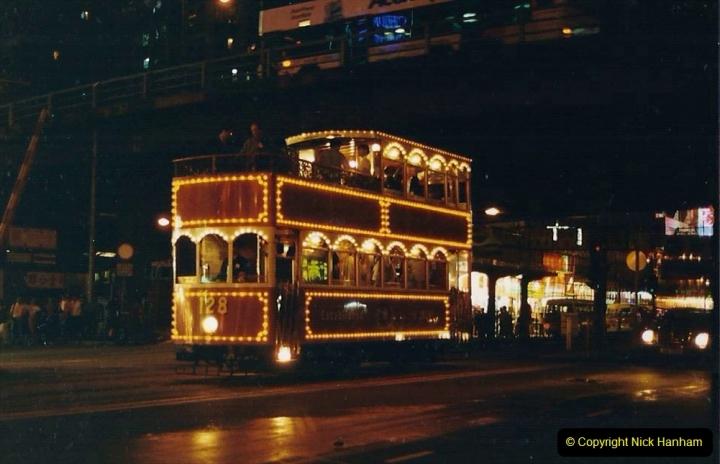 China 1993 April China into Hong Kong. (143) Hong Kong at night. 143