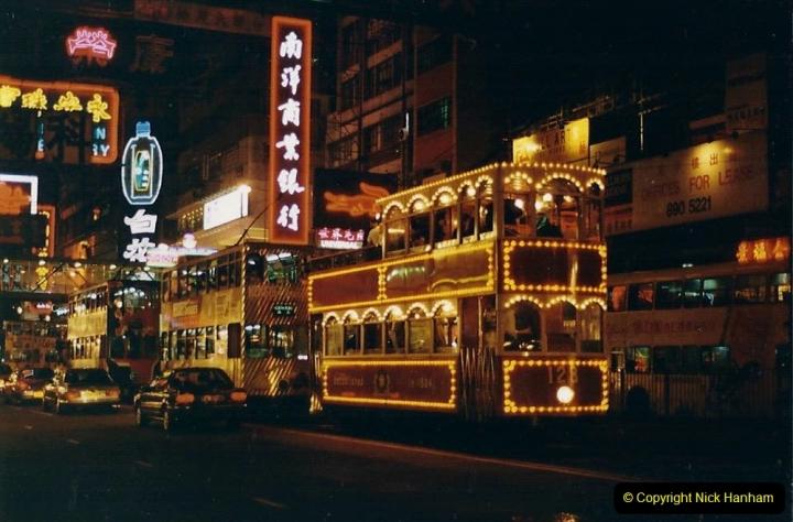 China 1993 April China into Hong Kong. (144) Hong Kong at night. 144