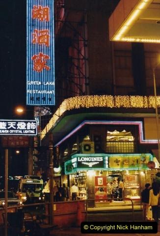 China 1993 April China into Hong Kong. (145) Hong Kong at night. 145