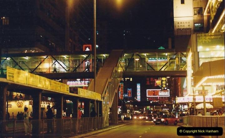 China 1993 April China into Hong Kong. (147) Hong Kong at night. 147