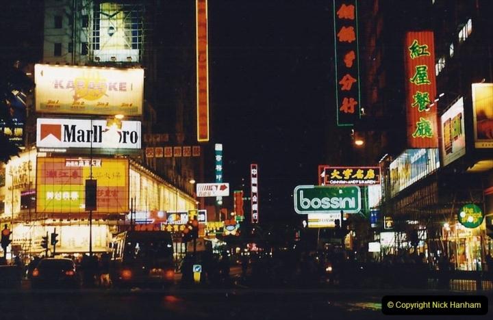China 1993 April China into Hong Kong. (148) Hong Kong at night. 148
