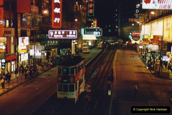 China 1993 April China into Hong Kong. (149) Hong Kong at night. 149