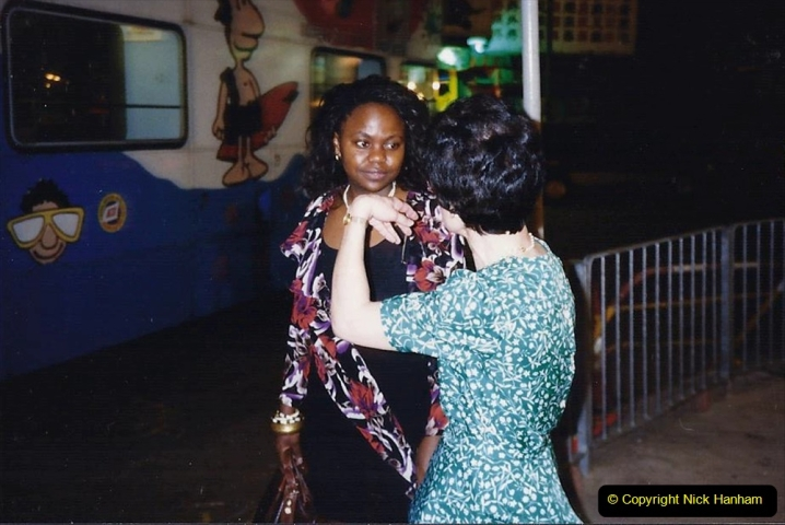 China 1993 April China into Hong Kong. (173) Meeting a friend for dinner. 173