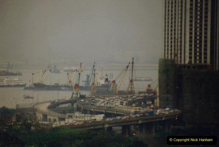 China 1993 April China into Hong Kong. (18) Hong Kong on a very misty day. 019
