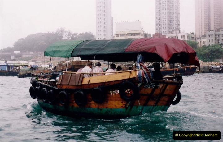 China 1993 April China into Hong Kong. (29) Aberdeen Harbour boat trip. Still very misty. 029