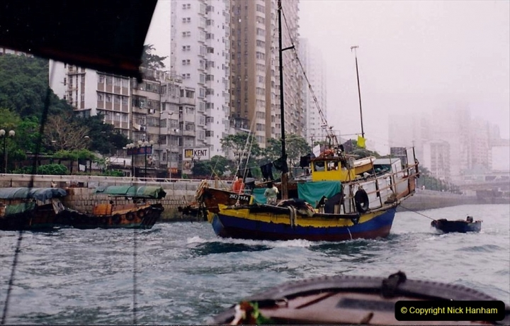 China 1993 April China into Hong Kong. (30) Aberdeen Harbour boat trip. Still very misty. 030