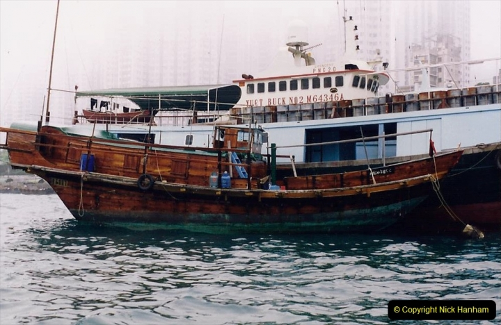 China 1993 April China into Hong Kong. (40) Aberdeen Harbour boat trip. Still very misty. 040