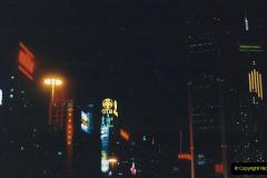 China 1993 April China into Hong Kong. (135) Hong Kong at night. 135