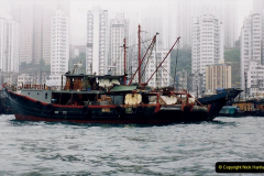 China 1993 April China into Hong Kong. (28) Aberdeen Harbour boat trip. Still very misty. 028