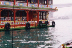 China 1993 April China into Hong Kong. (36) Aberdeen Harbour boat trip. Still very misty. The floating fish restaurants. 036