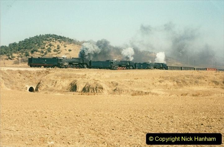 China 1997 November Number 1. (323) Various locations for linesiding near Yebaishuo. Triple header. 323